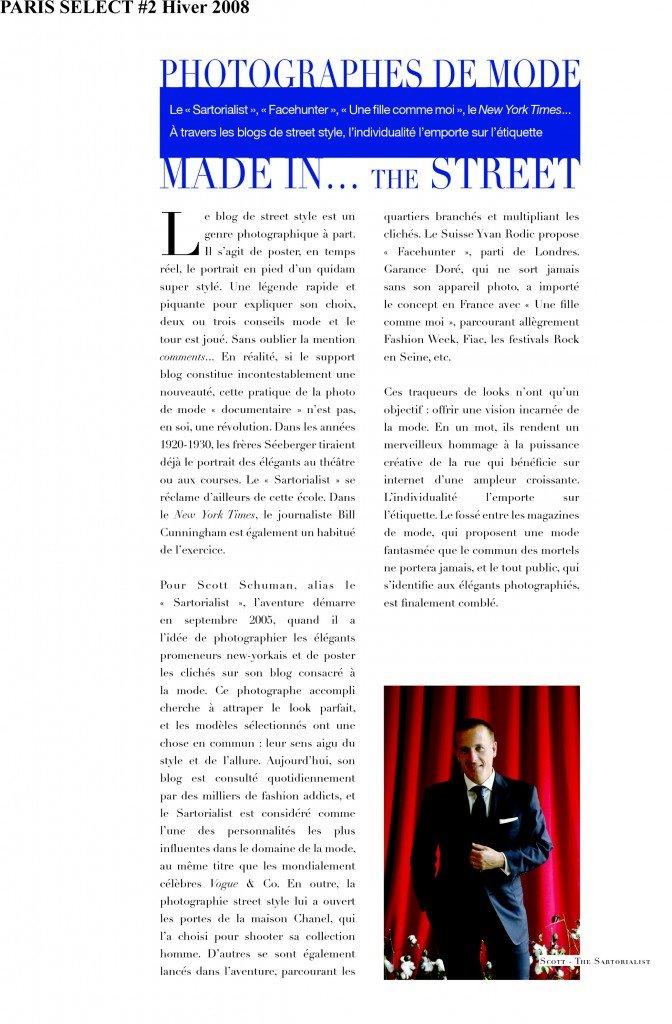 Photographes de mode - Made in... THE STREET dans Presse web et magazine select2